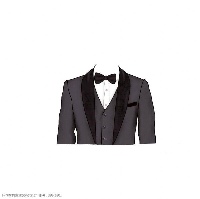 手绘卡通灰黑色领结西装证件照图片