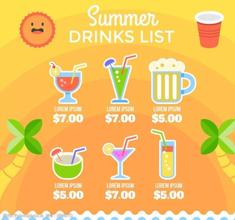 夏季饮品酒水单图片