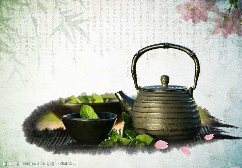 茶文化字体醉清风茶道海报图片