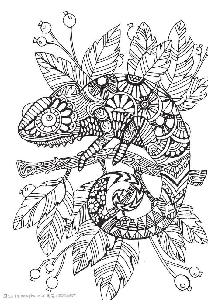装饰画变色龙手绘线稿图片