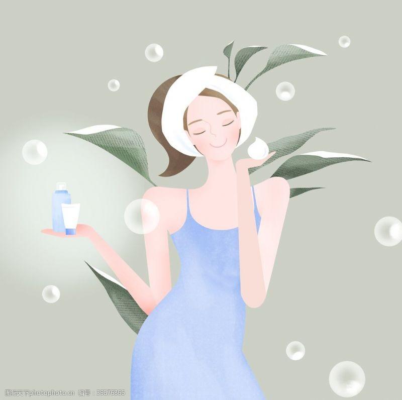 时尚女孩彩妆美女插画图片