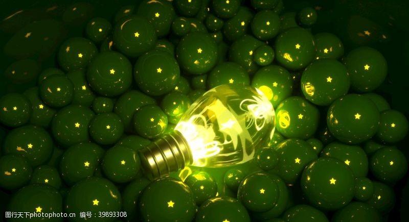 灯管发光的星星灯泡堆积在球体中图片