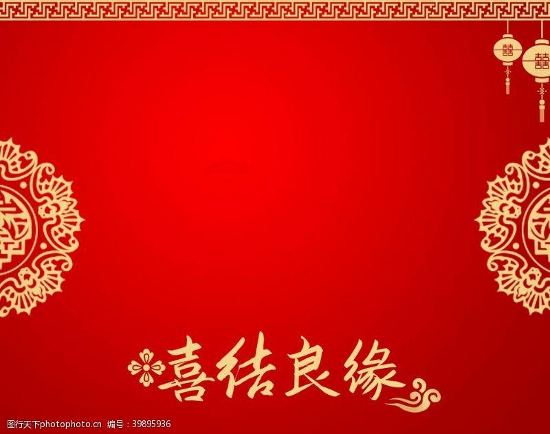 结婚红色婚礼背景图片