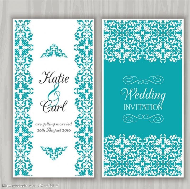绿色花纹花纹婚礼邀请卡图片