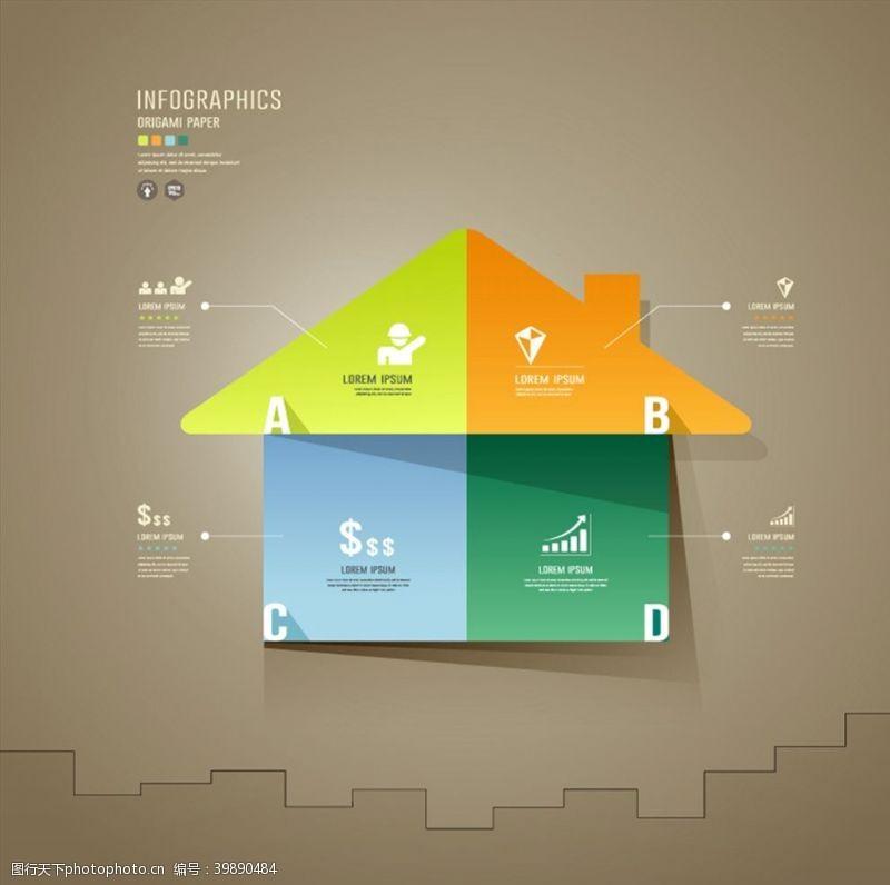 剪纸房屋信息图图片