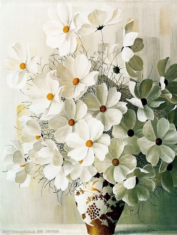 桌子静物白花图片