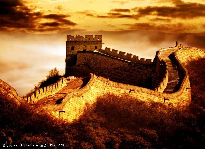 城墙金色长城图片