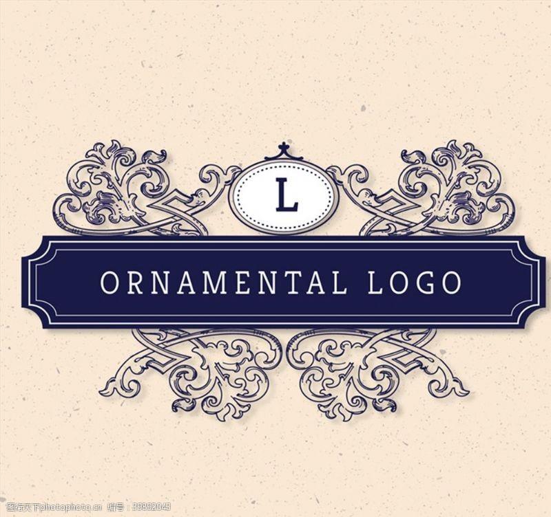 字母蓝色花纹标志图片