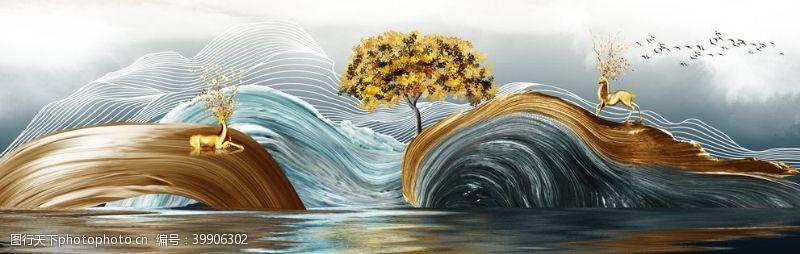 北欧麋鹿发财树装饰画图片