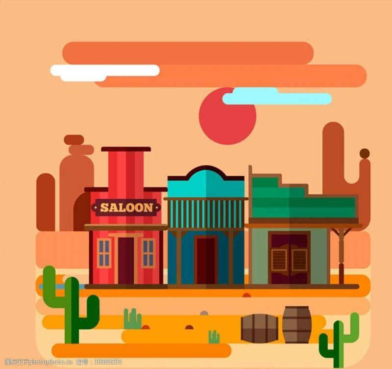 仙人掌沙漠和商铺风景图片