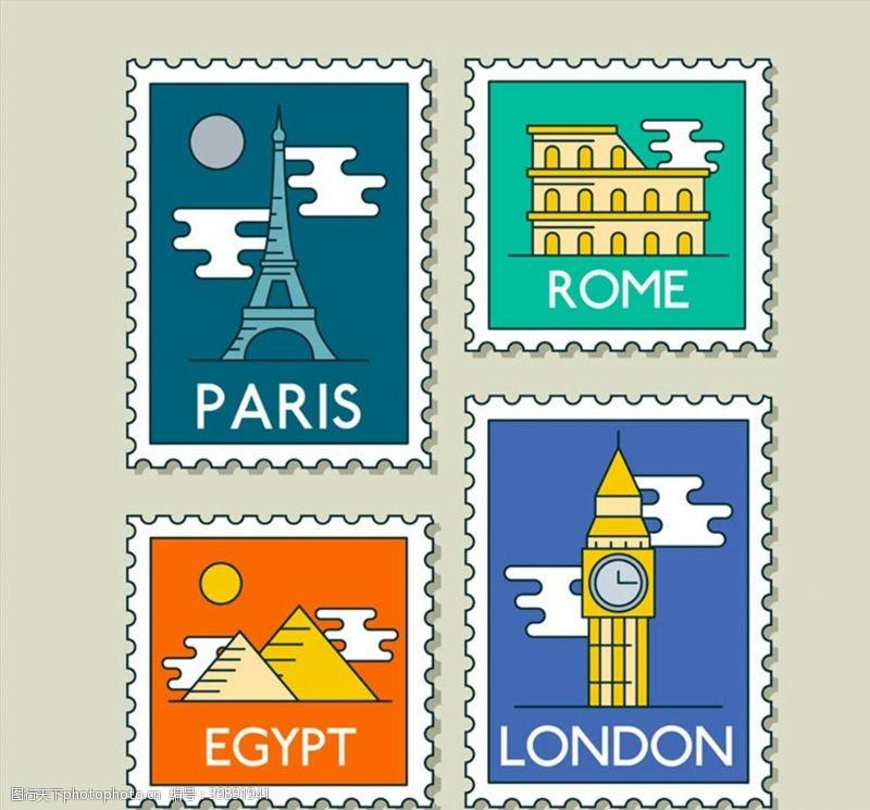 世界旅行邮票图片