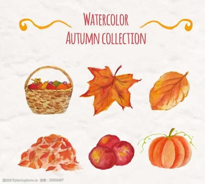 水彩绘秋季元素图片