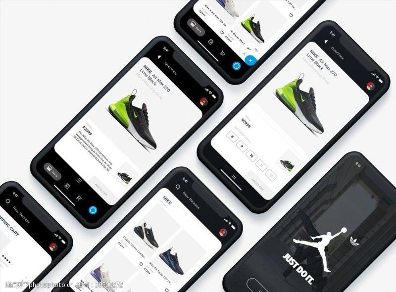 源文件下载xd鞋类平台UI设计黑色UI设图片