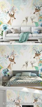 手绘背景现代简约小清新北欧手绘水彩麋鹿图片