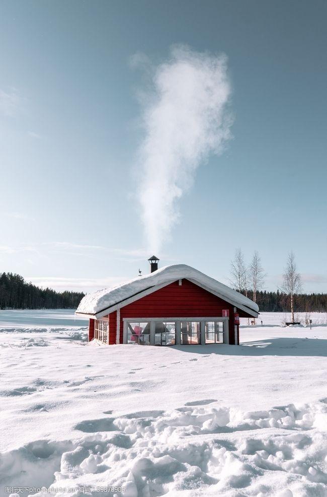 房屋雪中屋图片