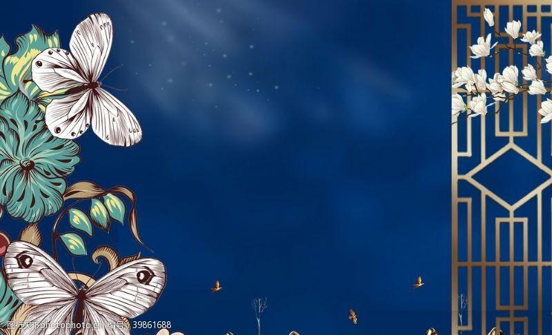 手绘背景中国风背景墙图片