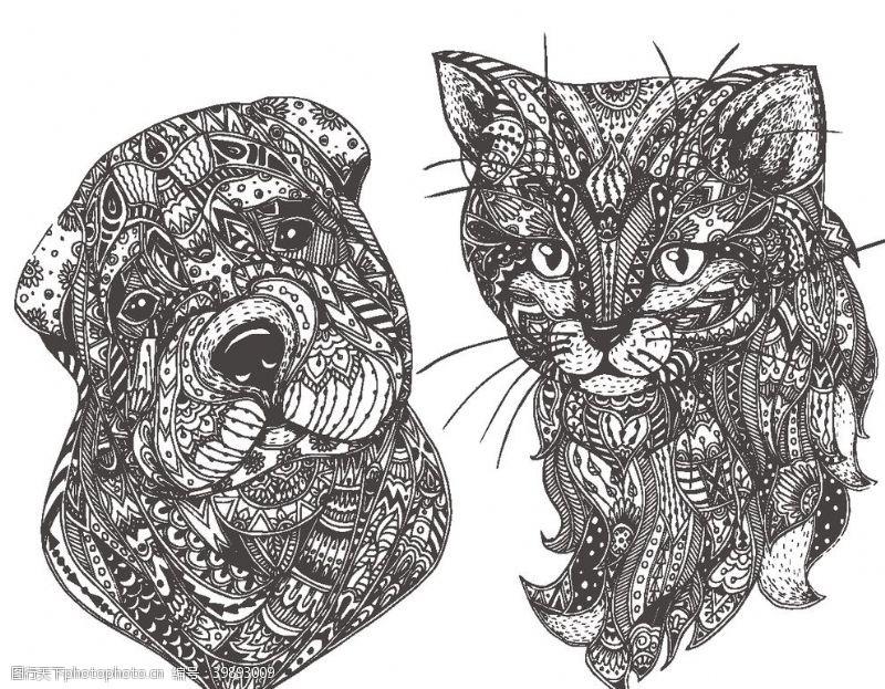 时尚插画动物抽象图腾图案图片