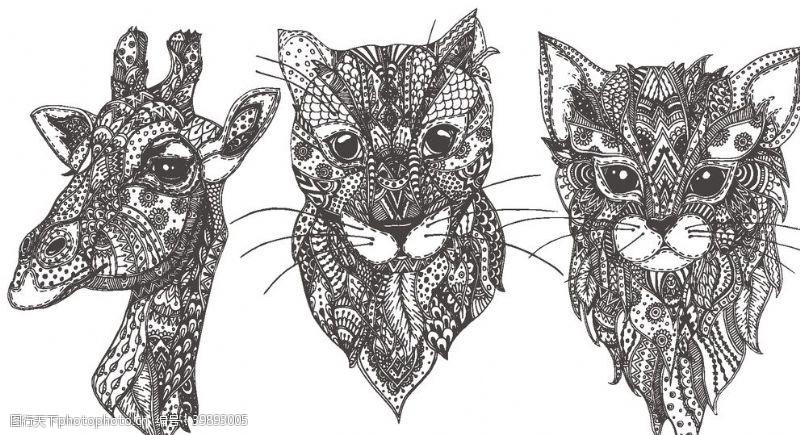 时尚插画动物图腾抽象图案图片