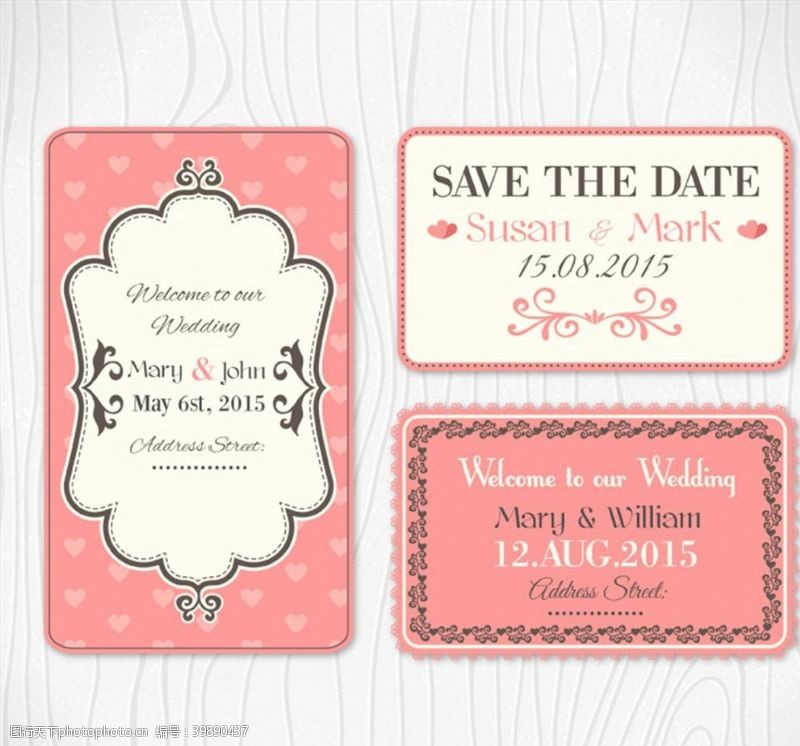 花纹卡片粉色婚礼卡片图片