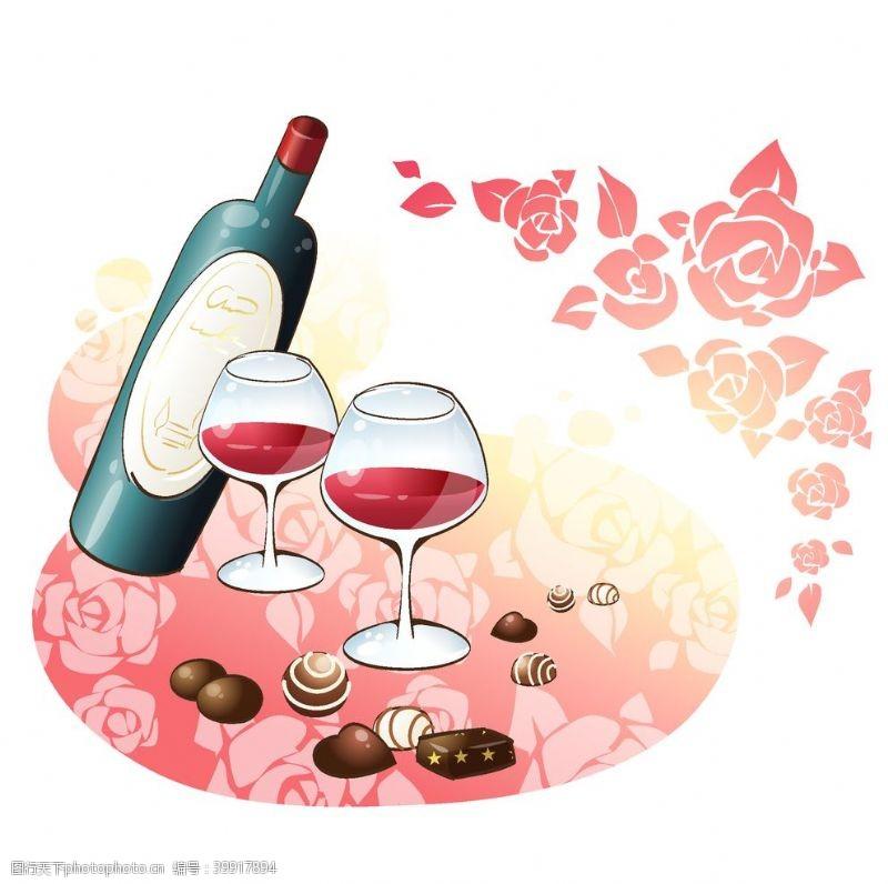 线稿红酒图片