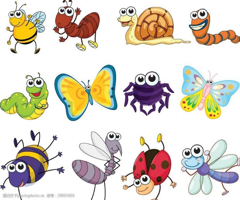 手绘动物卡通昆虫设计矢量图图片