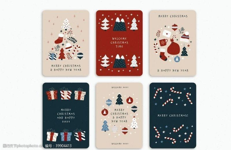 手绘图标卡通圣诞卡片图片