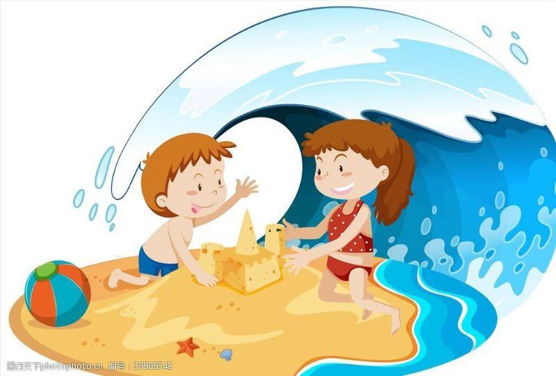 沙滩卡通夏天儿童图片