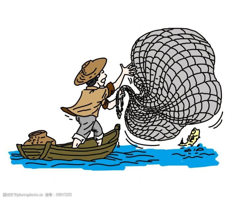 卡通动漫卡通渔民渔船捕鱼插画图片