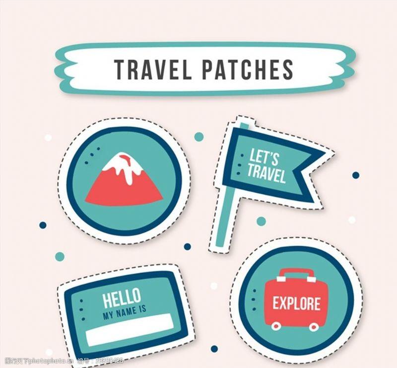 旅行箱旅行元素补丁徽章图片