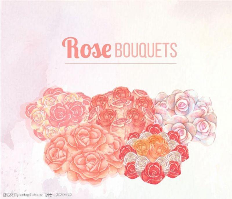 水彩绘玫瑰花束图片