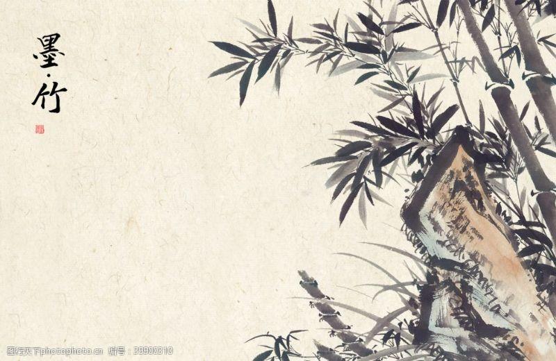 水墨竹子工笔画国画素材图片
