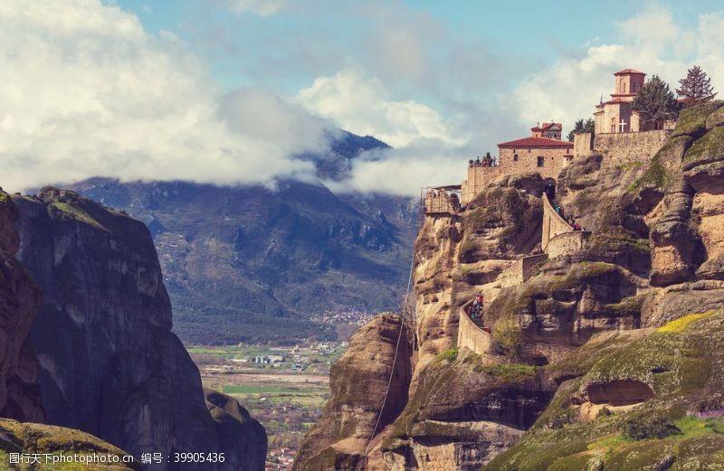 山石希腊的流星修道院图片
