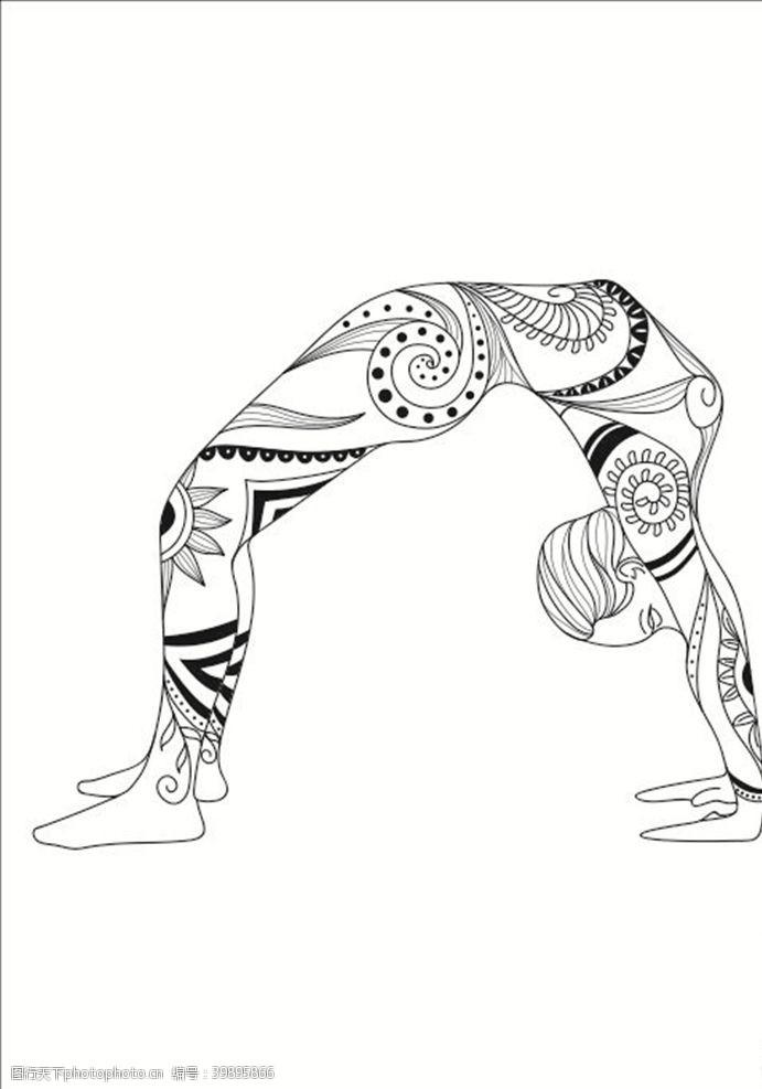 俱乐部瑜伽黑色瑜伽海报瑜伽单页图片