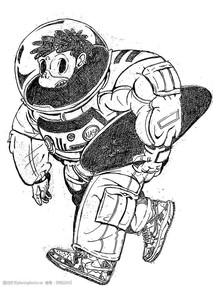 线稿宇航员猴子手绘图片