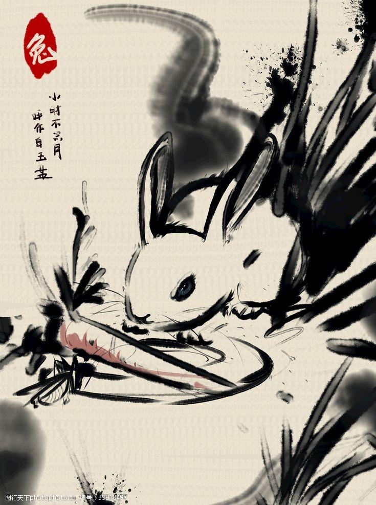 兔子水墨动物印花图片