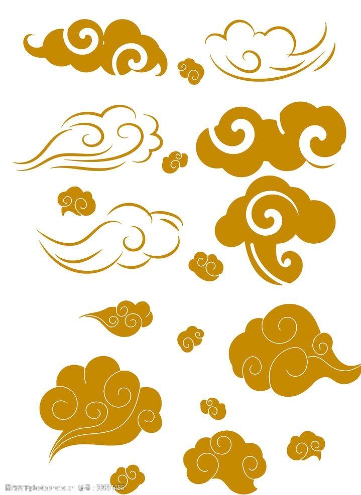 古代中式金色云纹祥云图片