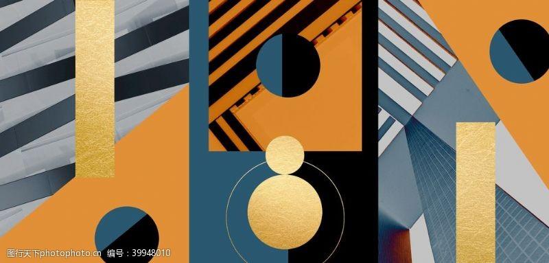 室内设计抽象几何装饰三联画图片
