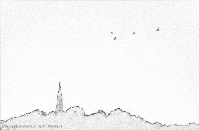 线稿杭州雷峰塔线性稿图片