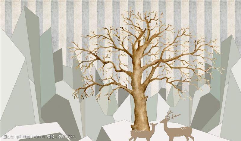 抽象背景几何浮雕花鹿背景墙图片