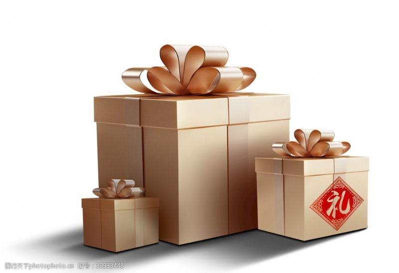 欢庆元旦金色礼盒素材图片