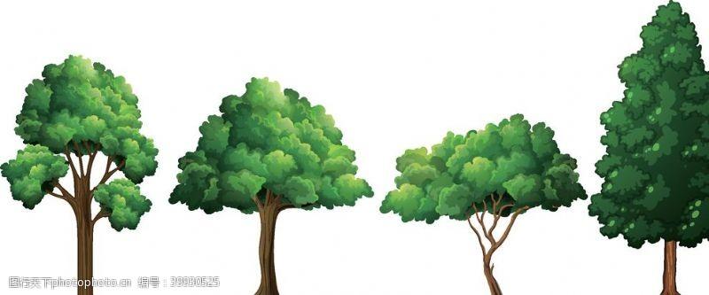 矢量大树卡通景观树图片