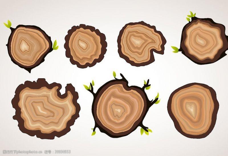 矢量大树卡通树桩矢量图图片