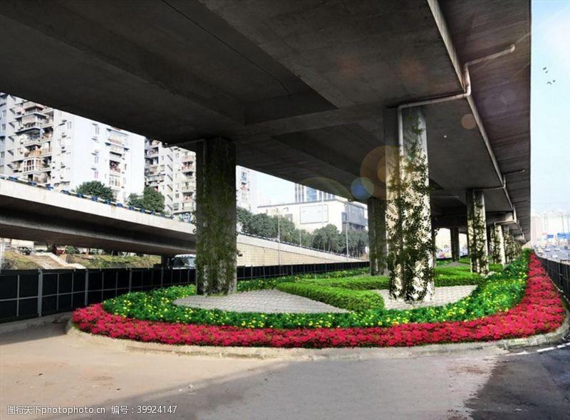 立交桥下绿化道路市政图片