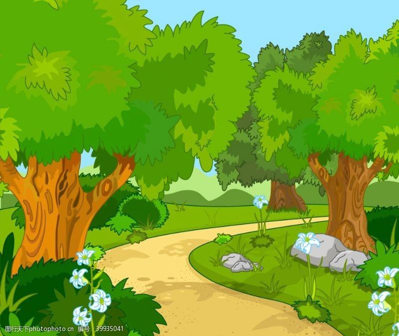 卡通花朵森林卡通图片