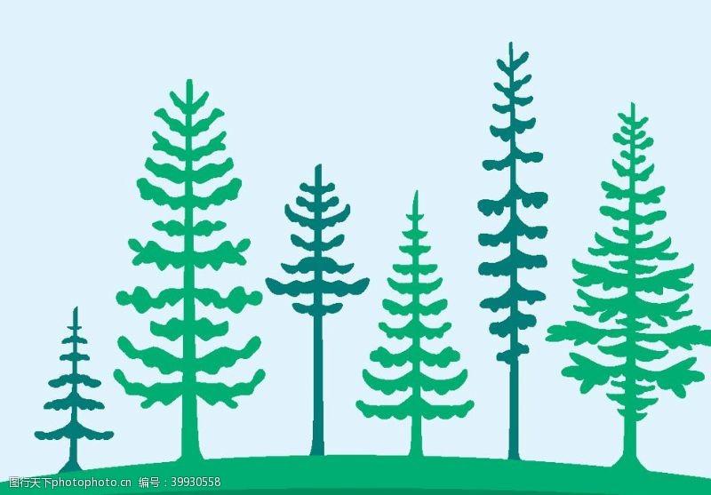 矢量大树手绘卡通森林矢量图图片