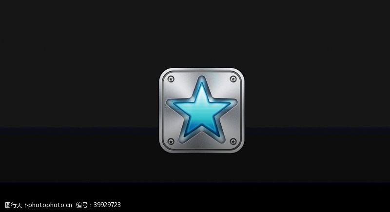 五角星icon质感银色图片