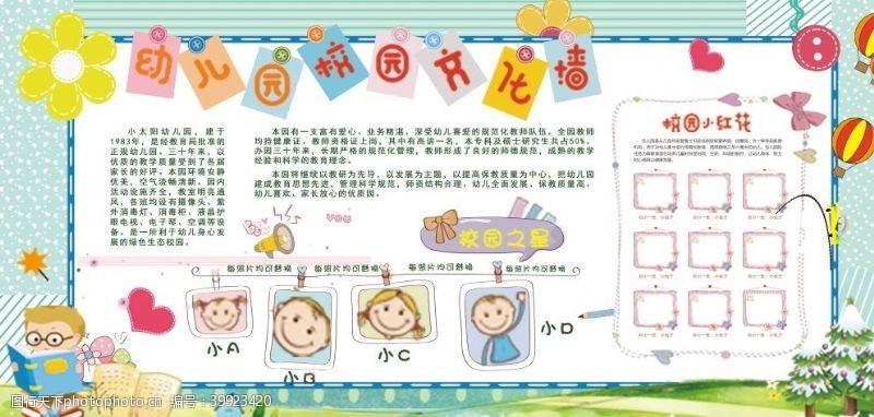蓝色展板幼儿园文化墙展板图片