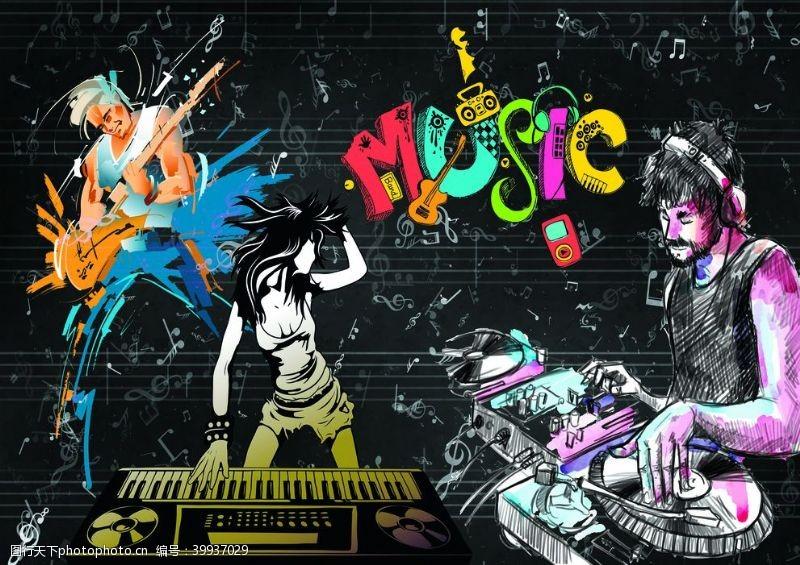 彩色人体音乐涂鸦艺术墙体装饰图图片