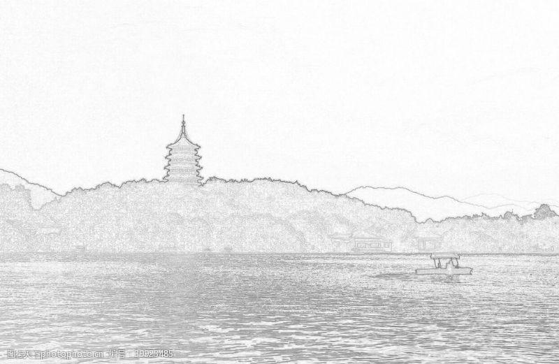 线稿杭州西湖线性稿图片