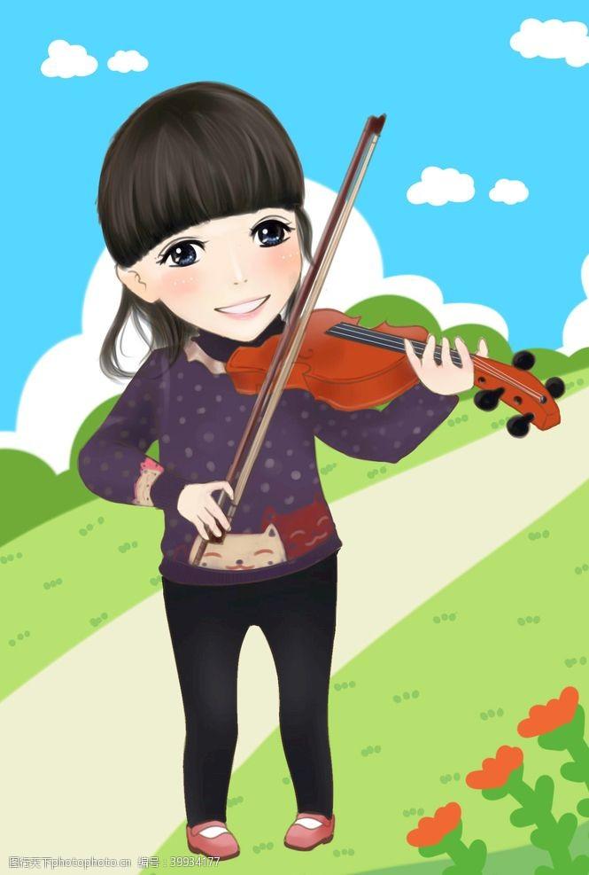 音乐拉小提琴的阳光女生图片